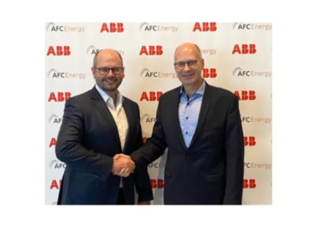 Chief Executive Officer of AFC Energy, Adam Bond, and Head of ABB's global business for E-mobility Infrastructure Solutions at ABB, Frank Muehlon. Image used courtesy of AFC Energy