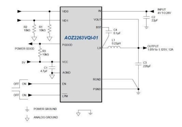 Typical application for the AOZ2263VQI-01 or the AOZ2263VQI-02. Image courtesy of the AOZ2263VQI-01 Datasheet