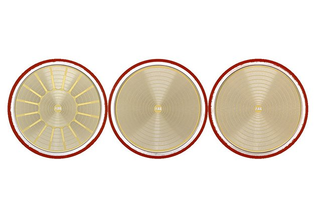 Pictures of experimental wafer layouts investigated. All wafers are cut to 94 mm diameter. Left: HWY layout. Centre: VSW layout. Right: CSW layout