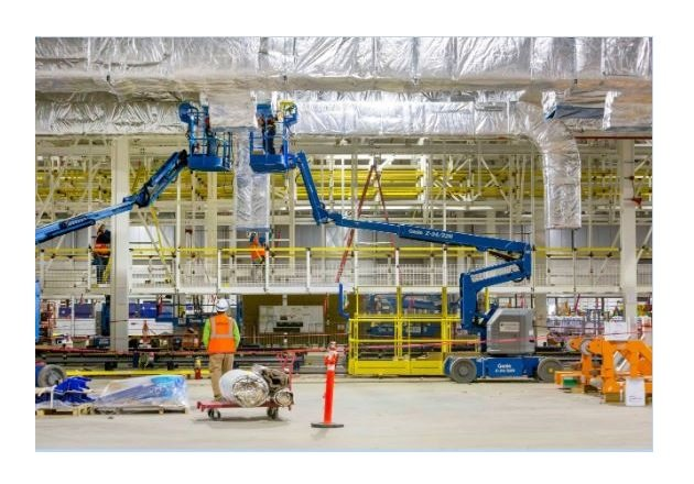 General Motors' Detroit-Hamtramck Assembly Plant undergoes construction as a part of the company's $2.2 billion overhaul to convert the facility into an EV-exclusive assembly plant. (Photo by Jeffrey Sauger, General Motors)