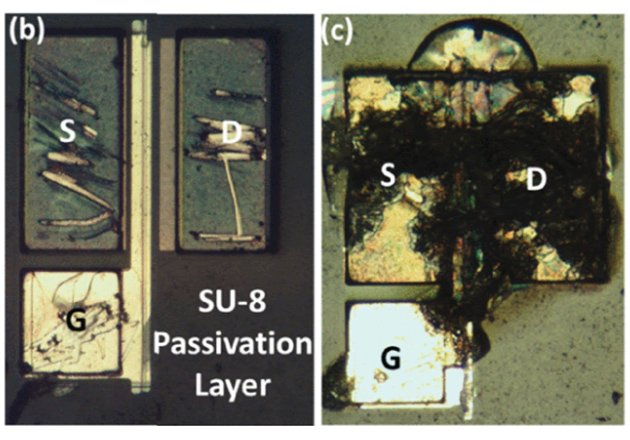 Device schematic (a), optical microscope image of MOSFET (b), optical microscope image of MOSFET after a breakdown.