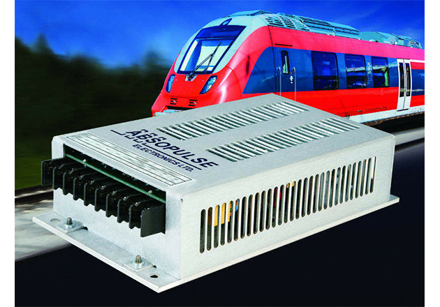Dual-output, PFC-input railway AC-DC power supplies with pure convection cooling by heatsink fins offer flexible mounting options