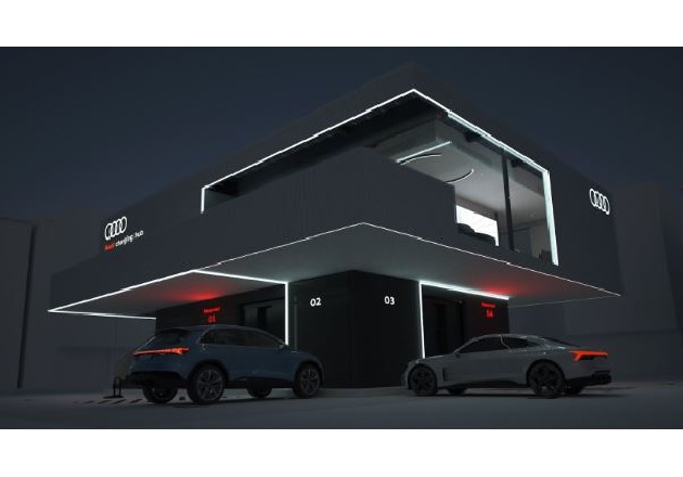 A concept of the upcoming Audi charging hub. Image used courtesy of Audi.