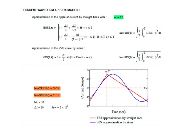 Figure 2: Part of the Mathcad routine (current waveform to calculate Irms and Bpk).