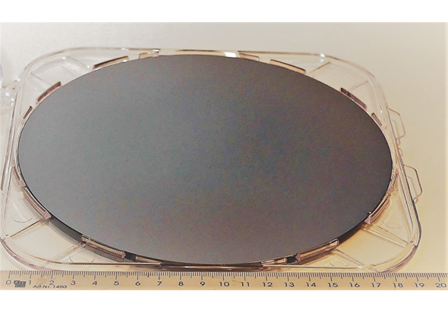 200 mm GaN-on-Si epiwafer example for HPE application to be supplied by AZUR SPACE based on ALLOS' technology.