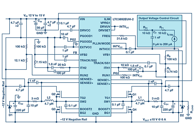 Electrical schematic of the two terminal, bipolar, adjustable power supply