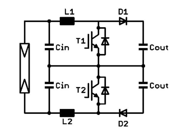 Three-level symmetric boost circuit