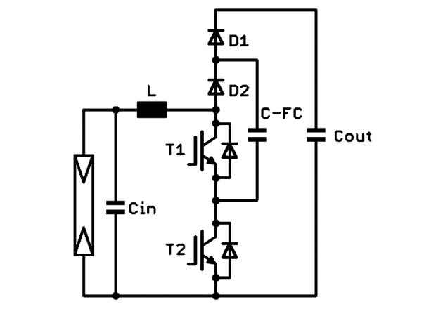 Three-level flying-capacitor boost circuit
