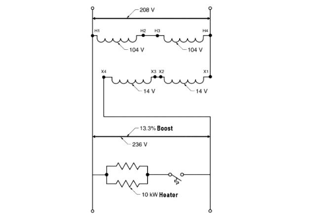 Figure 3. Voltage can be boosted from 208V to 236V to supply a 230V parts heater.