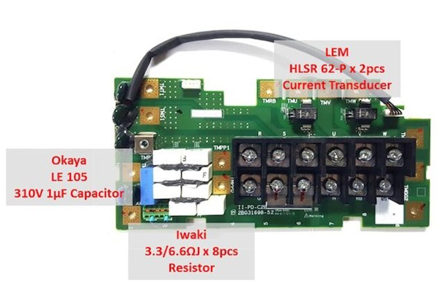 Line input and three-phase output contactor board.