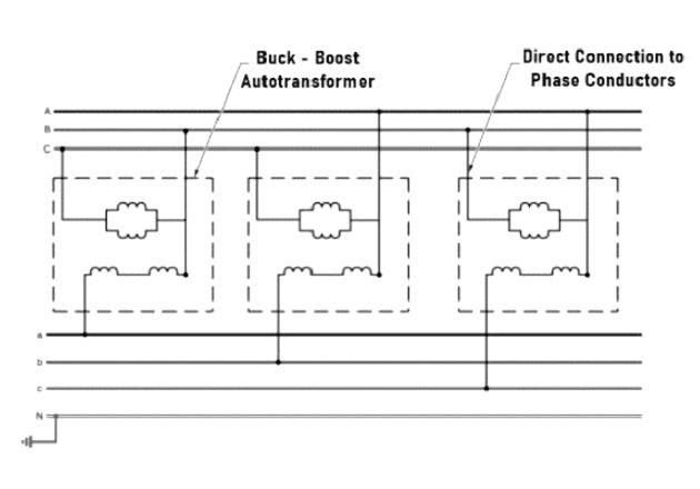 Figure 3. Autotransformers must have a direct connection to the ungrounded phase conductors.