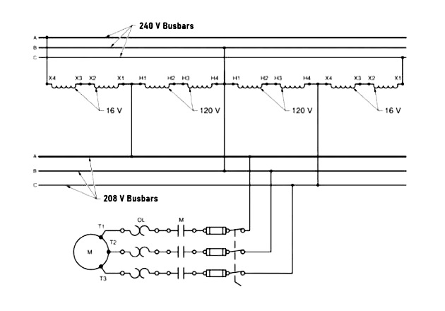Figure 1. A buck-boost transformer can be wired in an open delta when the load is relatively low to buck the voltage from 240V to 208V.