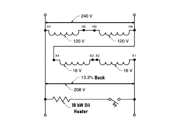 Figure 2. Voltage can be bucked from 240 V to 208 V to supply a 200 V heater.