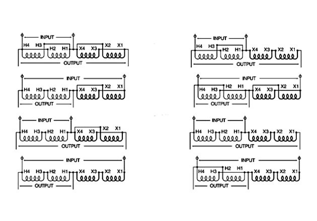Figure 3. Buck-Boost Wiring Diagrams - Single Phase