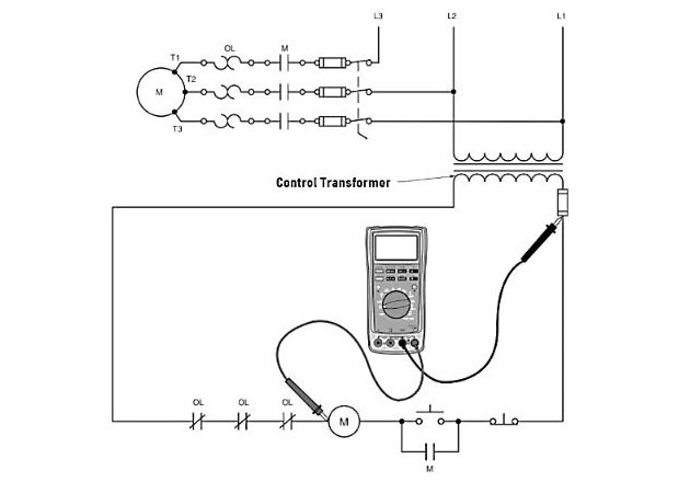 Figure 2. Voltages in a floating system must be measured relative to one side of the control transformer instead of to the ground.