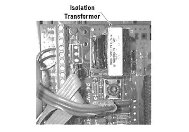 Figure 3. Isolation transformers can be used in controllers to prevent a ground loop from causing problems in the circuit.