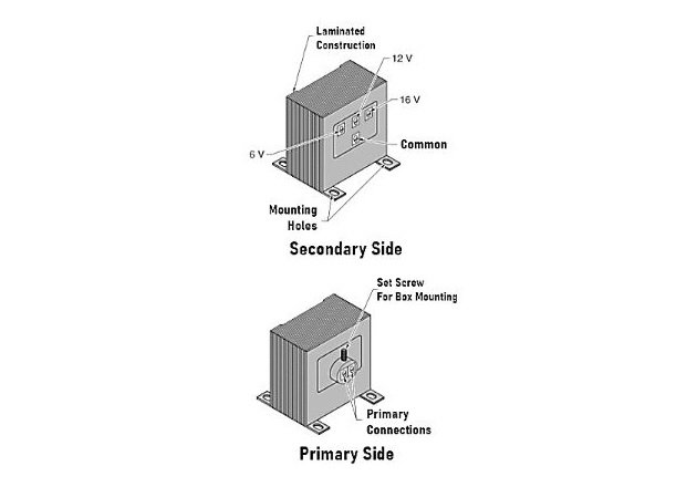 Figure 6. A bell transformer has taps for 6 V, 12 V, and 16 V to power low-power devices such as doorbells and annunciators.