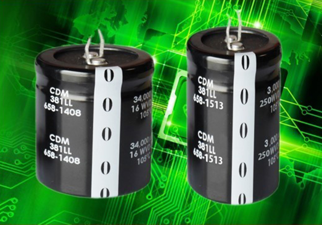 Cornell Dubilier's381LL series of long-life snap-in aluminum electrolytic capacitors.