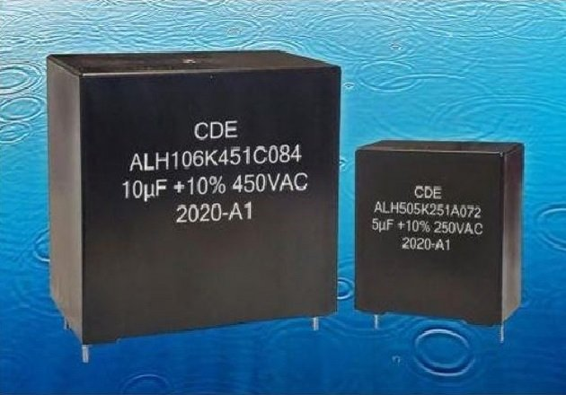Members of the ALH series ofAC-rated filtercapacitors. Image courtesy of CDE