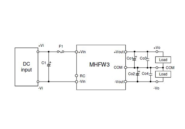 Circuit for application of an MHFW3 DC/DC converter.