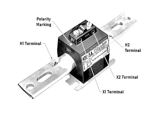 Figure 4. A bar current transformer has a bar permanently placed in the window. Primary connections are made on the bar