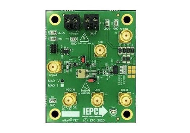 The EPC9150 demonstration board, with the Epc2034C eGaN FET mounted on the center right. Image courtesy of EPC