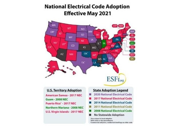 Figure 1. National Electrical Code (NEC) Adoption in the different US States  Image Courtesy: ESFI