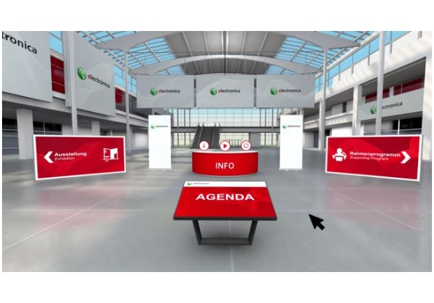 The virtual entrance room for the electronica 2020 conference. (Image via Messe München GmbH)