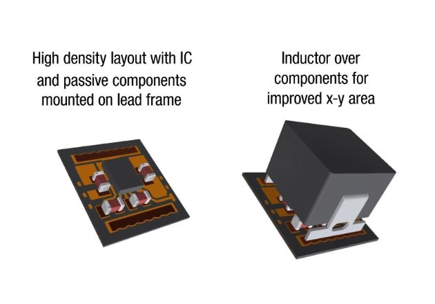 Figure 3: Inside an Enhanced HotRod QFN module: high-performance IC die, withthe bypass capacitors and inductor located over the components