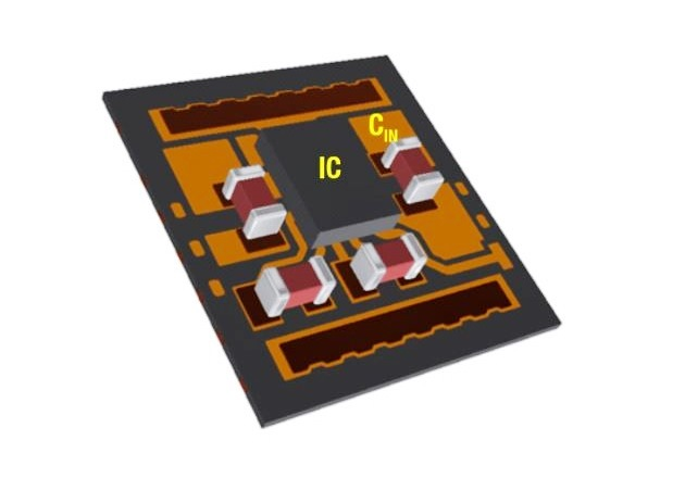 Figure 8: Placing a high-frequen - cy bypass capacitor as close as possible to the chip minimizes the high di/dt loop area.