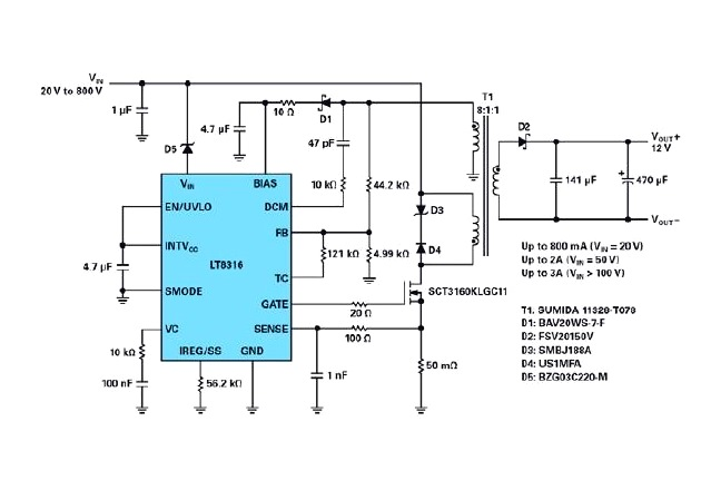 Figure 1: A complete 12 V isolated flyback converter for a wide input from 20 V to 800 V with a minimum start-up voltage of 260 V.