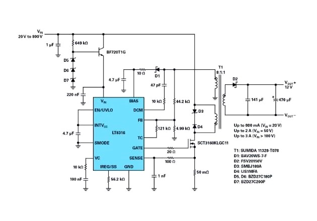 Figure 4: Schematic of an isolated flyback converter: 20 V to 800 V input to 12 V, with low start-up voltage.
