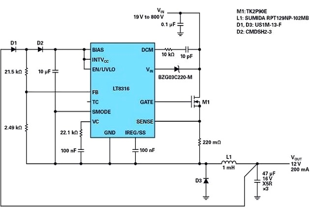Figure 5: Schematic of a nonisolated buck converter with up to 800 V supply voltage.