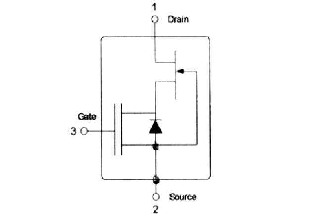 Figure. 5.2: One of a great many executions of a cascode, here a favourable combnation of a standard n-channel lv mosfet and a jfet, in particular a GaN or SiC jfet. This combination does not require an auxiliary gate voltage. The intrinsic diode of the mosfet is used in bridge circuits where the current must also flow in reverse direction. A jfet passes current in both directions. Most GaN and SiC jfets on the market appear as cascodes.