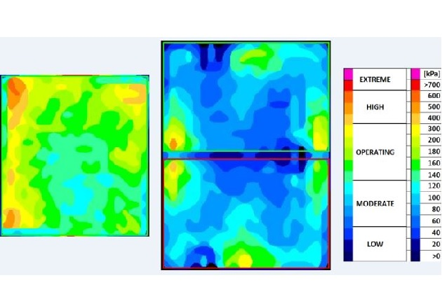 Figure 2: Pressure distribution of flow S3 (left) and a competitor package (right)