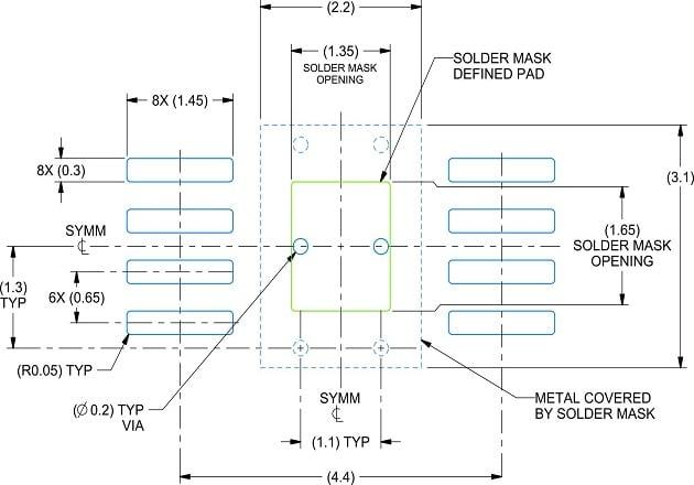 Figure 4: The HVSSOP's PCB land pattern
