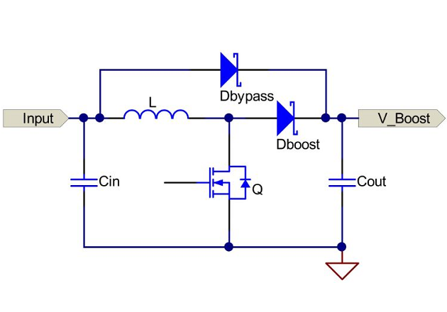 Figure 4: Simplified schematic of a boost