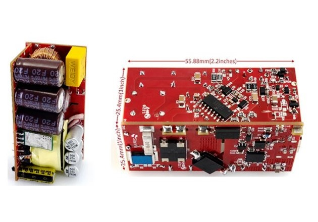 From left to right, top and bottom sides of the SZ-RD12-65W Evaluation Board. Image courtesy of Gan Systems