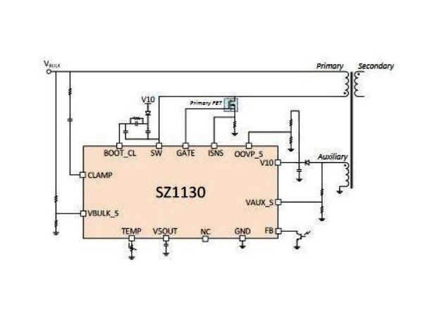 Basic application diagram for the SZ1130 active clamp flyback controller. Image courtesy of Silanna