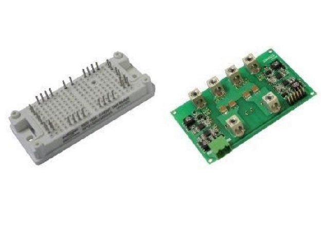Power module (left) and external driver board. Image courtesy of evaluation kit Technical Manual