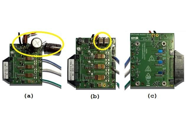 Figure 2 (a)EPC9146 modified with L=6μH and two C=330μF input filter (b) EPC9146 modified with two C=22μF ceramic capacitors (c)EPC9146 showing the three EPC2152 eGaN ePower™ stage ICs