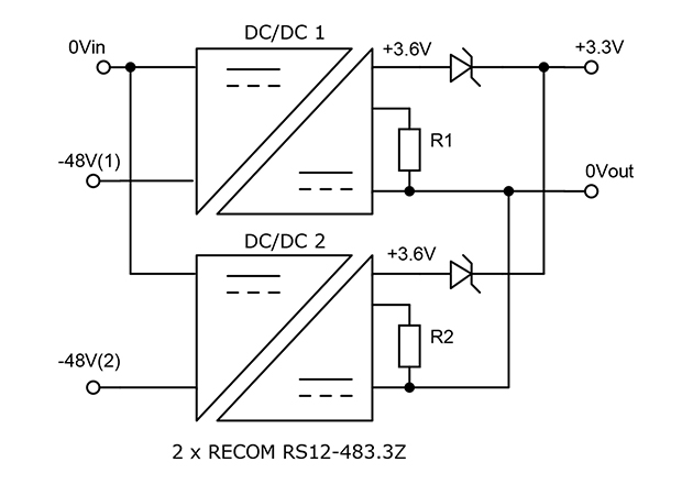 DC/DC outputs trimmed up to compensate for diode drops in redundant configuration