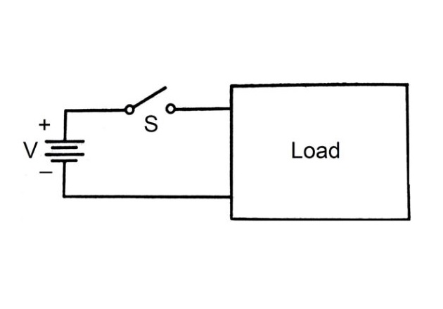 Figure 5. Battery supplying a load through a transmission line.