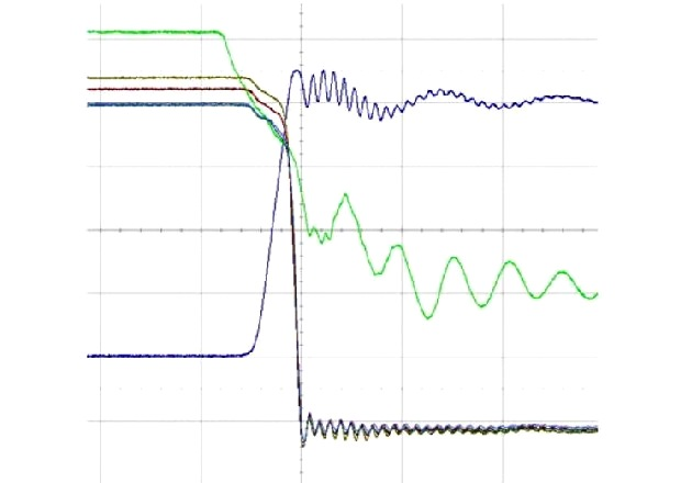 Figure 6: DPT Turn-off Waveforms for 4 Paralleled Modules (200 ns/ division and 50 A/division) Green Vgs 5 V/division. Blue Vds 100V/division