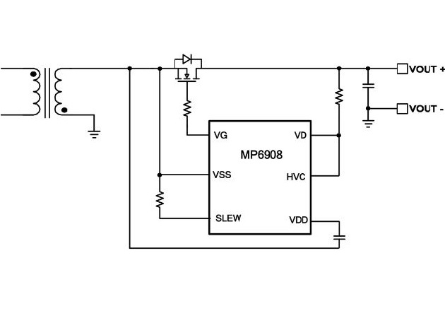 Figure 5: Typical Application of MPS's MP6908 in a Flyback Solution