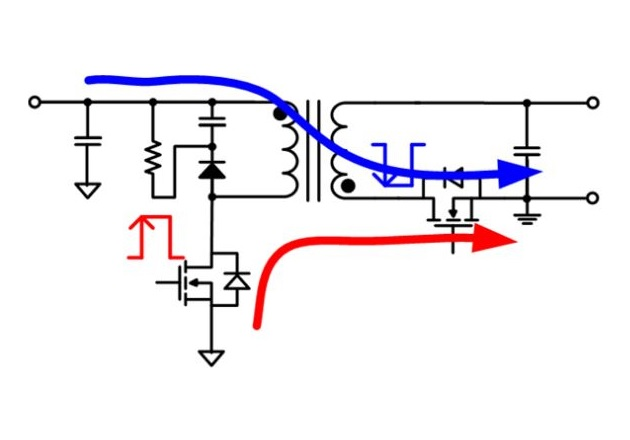 Figure 7: Comparison between High-Side SR and Low-Side SR (a) CM Noise Coupling Path with Low-Side SR