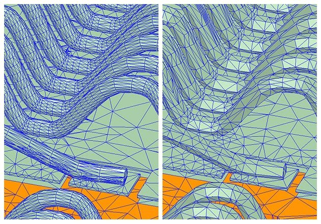 Mesh created by Ansys Q3D for bond wires with circular and hexagonal cross sections