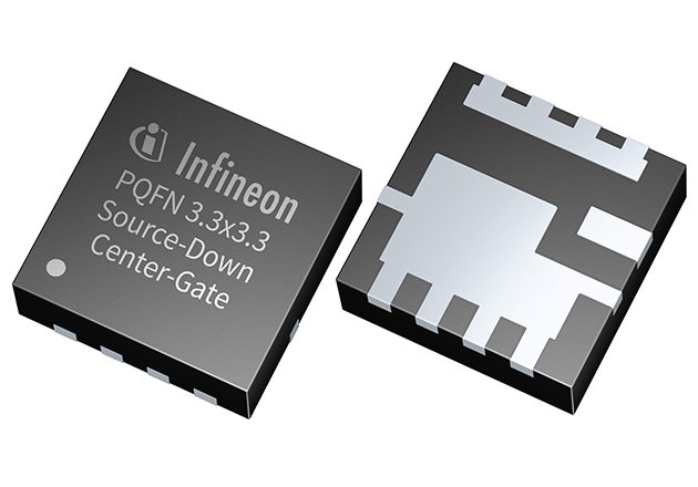 Close up of Infineon Technologies' new Source-Down Center-Gate power MOSFET in PQFN 3.3x3.3mm package.