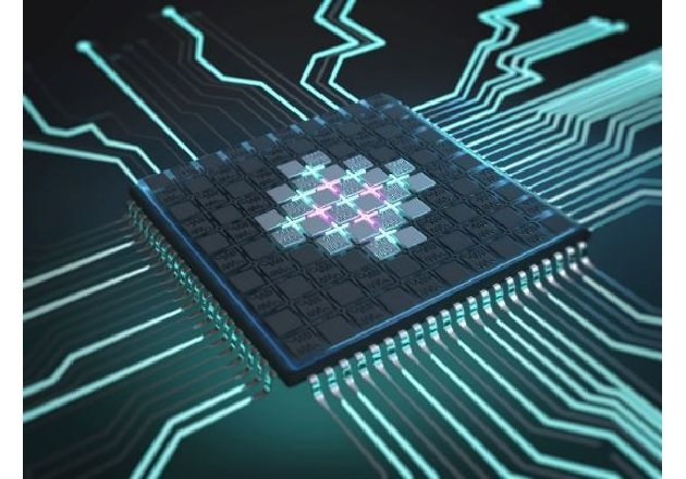 A computer-rendered image picturing a quantum processor based on superconducting qubits. Image used courtesy of Infineon and ©Chris Hohmann.