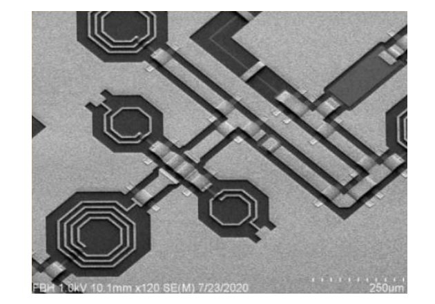 A scanning electron microscope image of gallium nitride MMICs. Image used courtesy of FBH.